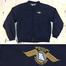 MISSOURI PILOTS ASSOCIATION - Mens Vtg Navy Blue Harrington Jacket - XL