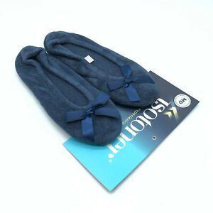 Isotoner Womens Slippers Ballet Flat Slip On Fleece Bow Navy Blue Size M 6.5-7.5