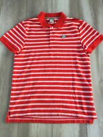 Nike Sportswear Polo Shirt Striped Red White Men's Large Embroidered Swoosh Logo