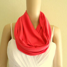 Coral Red Scarf. Infinity Scarf. Circle Scarf. Loop Scarf. Soft Cotton Scarf