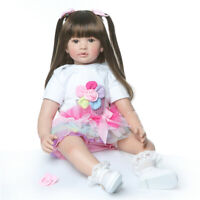 "Reborn Toddler Dolls Adorable 24"" Reborn Baby Girl Silicone Baby with Black Hair"