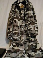 Camouflage Hooded Jacket Pants Fleece Lined Black Grey Hunter Hunting NWT XXL