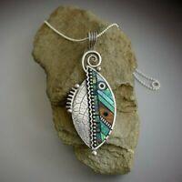 Fashion Boho Resin Green Leaf Pendants Necklace Ethnic Choker Women Jewelry Gift