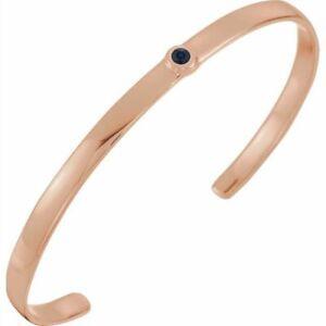 """Blue Sapphire Cuff 6"""" Bracelet In 14K Rose Gold"""