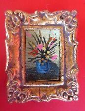 SALE vintage MINIATURE DOLLHOUSE oil painting flowers picture  1:12