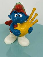 Vintage Smurfs Scottish Bagpipes Smurf pvc figure (1978) Schleich Peyo 010