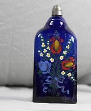 Branntweinflasche - handbemaltes Email Blumen Decor mit Zinn Montur  /S43