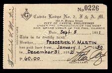 PHILIPPINE ISLANDS 1951 MASON M W Grand LODGE #2 CAVITE MEMBERSHIP CARD  $3s&hUS