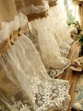 """72""""x45""""Shabby French Country Chic-Burlap Curtain Panel Cream Lace Ruffles SWEET!"""