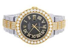 Mens Rolex 18K/ Steel Datejust Two Tone Oyster 16233 Diamond Watch 19.5 Ct