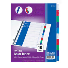 1 Pack of BAZIC 3 Ring Binder Dividers with 10 Color Tabs #3107 divider tap