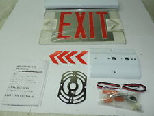 Red LED Emergency Exit Light Sign Ceiling Edge Lit Battery Backup White Dual