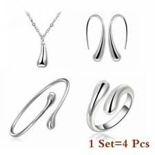 Elegant Jewelry Set Women 925 Silver Gold Drop Necklace Bracelet Earrings Rings