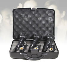 3 Pack Vonyx Dynamic Vocal Microphones & Mic Stand Clips ABS Padded Carry Case