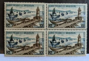 St. Pierre and Miquelon Stamps 1957 Scott #355 Lighthouse/Fishing Dock VF MNH
