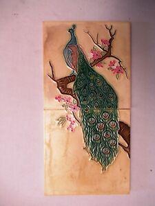 "Antique Peacock Tiles Japan Porcelain Fm Trade Mark Majolica 2 Pc Set Collecti""2"