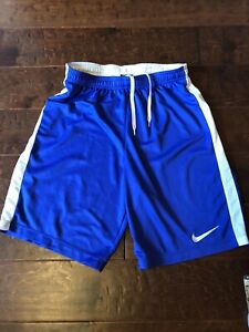 Nike dri fit running shorts medium unisex blue w white stripe