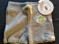 B4 BURTS BEES BABY INFANT SHORTS (GRAY) 100% ORGANIC COTTON  SIZE 3-6 MONTHS
