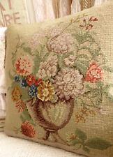 """15"""" Shabby Chic Antique Artistic Flower Art in VTG Brown Urn Needlepoint Pillow"""