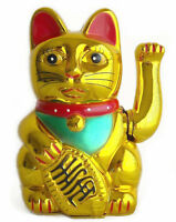 "5"" Japanese Maneki Neko Beckoning Feng Shui Money Good Fortune Waiving Lucky Cat"
