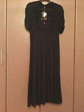 NWT LOUI LOUI  100% COTTON  BLACK  EVENING  MAXI  DRESS SIZE 14