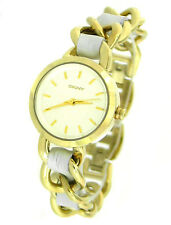 NEW DKNY  GOLD TONE WHITE LEATHER BRACELET  LADIES WATCH NY8149