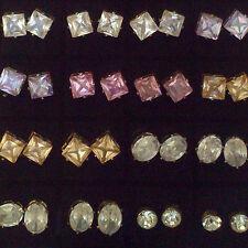 Imitate Crystal / Diamond Stud Earrings Round / Oval / Square *UK Seller*