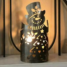 Vtg Snowman Metal Tin Candle Luminary Farmhouse Decor Christmas Tree Light Shade