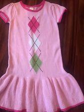 girls GYMBOREE PINK SWEATER DRESS knit ARGYLE school S/S clean! CUTE size 7