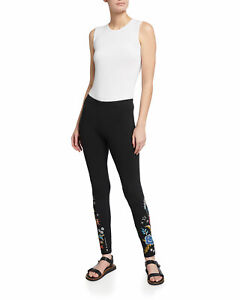 Johnny Was Black MARIS LEGGING BLACK Leggings Cotton Flowers Embroidery MED NEW