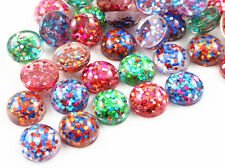 12mm Glitter Resin Cabochons | Mixed Colours | Pack of 40pcs