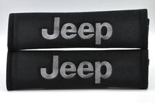 Gray on Black Embroidery Seat Belt Cover Harness Shoulder Pads Pair for Jeep