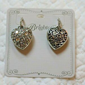 Brighton ANATOLIA NWT $68 Reversible Heart Clear Crystal  Post Drop Earrings