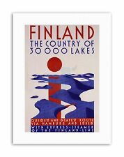 FINLAND COUNTRY 30000 LAKES Poster Vintage Travel Canvas art Prints