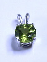 Natural earth-mined peridot in a solid sterling silver pendant ...6 mm stone