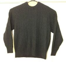 Davis & Squire 100% Cashmere Cable Knit Sweater Pullover Black Gray - Size XL