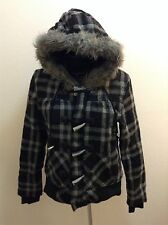 O'NEILL HOODED COAT WOMEN'S JACKET GRAY PLAID SIZE MEDIUM SXS