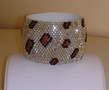 Acrylic Rhinestone Animal Print Bangle Bracelet