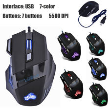 Gaming Mouse 7 Button USB Wired LED Breathing Fire Button 5500 DPI Laptop PC