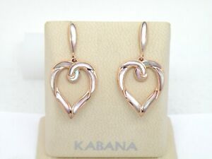Authentic Kabana 14k Rose Gold Heart Earring, Pink Mother of Pearl  Inlay,  NEW