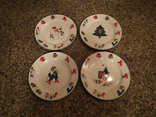 Nice! Set of 4 -  Ro Gregg WELCOME WINTER 4116 Stoneware Salad Plates