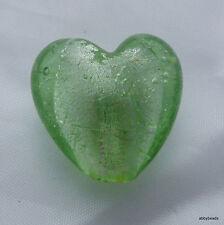 Minty green silver foil glass heart beads 20mm X 5