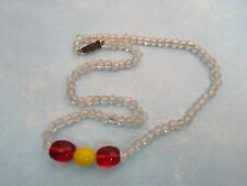MARDI GRAS GLASS BEADS: 1960s Czechslovakia New Orleans-Clear, Red, Yellow