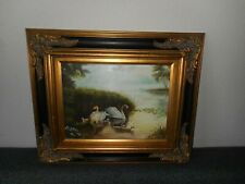 Old oil painting,{ Family Zwaans on the water, great frame! }.