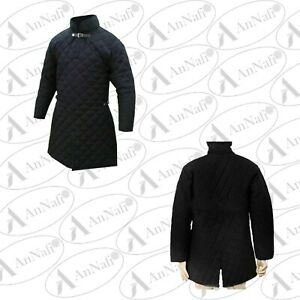 Medieval Viking Padded Armour Black Color Gambeson With Full Sleeves