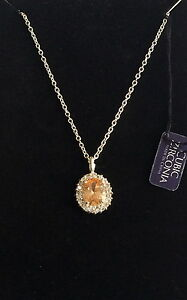 """Sterling Silver Halo Topaz Necklace 18"""" Hope Diamond Simulated Vintage Style"""