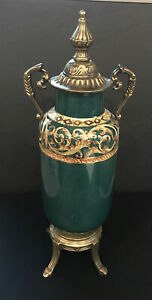 "Dominic Porcelain And Brass Urn 14"" Handcrafted"