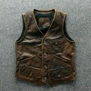 Mens Real Leather motorcycle Vest Tan Brown Leather Biker Vest