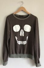 Wildfox Mort Skull Face Brown Pullover Sweatshirt Long Sleeve Size XS