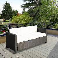 Outsunny 3 Seat Rattan Sofa Seat Couch Deluxe Black